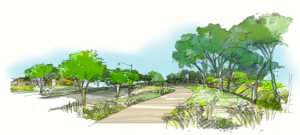 Concept of trail along El Rio Watercourse levee