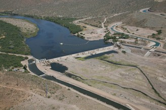 Granite Reef Diversion Dam east of Mesa, where water from the Salt and Verde Rivers enters the Valley Photo: SRP